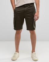 Asos Skinny Shorts With Cargo Pockets In Khaki