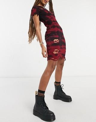Kikiriki high ribbed bodycon dress in tie-dye with distressing