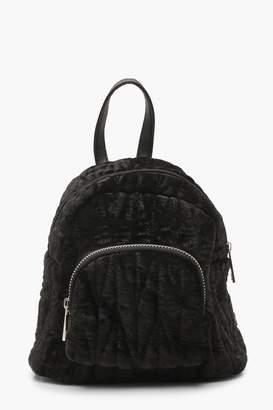 boohoo Velvet Quilted Mini Rucksack