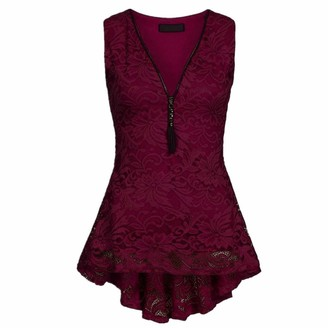 """""""N/A"""" TTMMI Women's Lace Vest Top Sleeveless Blouse T-Shirts Zip Front Tunic Tank Tops Summer Casual Loose Deep V Neck High Low Hem Lace Top Vest Plus Size S-3XL"""