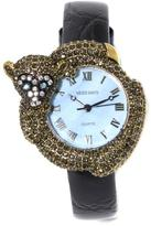 "Heidi Daus No More Monkey Business"" Crystal Bezel Leather Strap Watch"