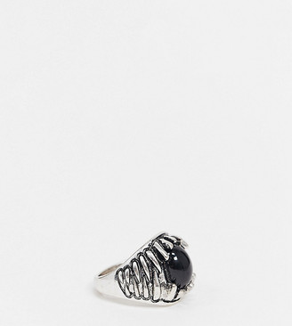 Reclaimed Vintage Inspired teeth ring with stone in burnished silver