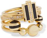 Noir Honeybee set of four gold-tone, crystal and enamel rings
