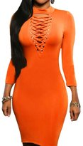Min Qiao Womens Sexy High Neck 3/4 Sleeve Lace Up Party Prom Club Bodycon Mini Dress