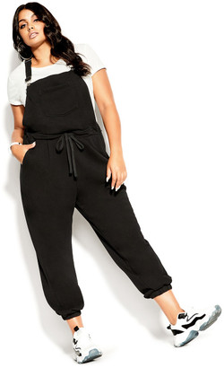 City Chic Soft Overall Jumpsuit - black