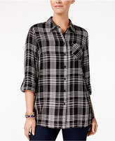 Style and Co Tab-Sleeve Plaid Top, Created for Macy's