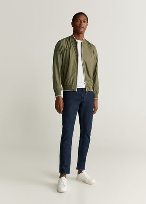 MANGO MAN - Technical fabric bomber jacket medium brown - S - Men