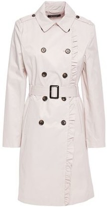 DKNY Ruffle-trimmed Cotton-blend Gabardine Trench Coat