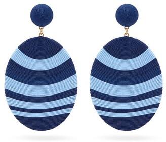 MaryJane Claverol Newton Hand-wrapped Cording Clip Earrings - Blue