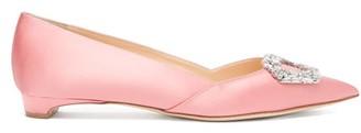 Rupert Sanderson Aga Crystal-embellished Point-toe Satin Flats - Pink
