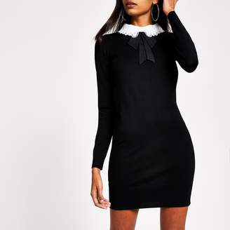 River Island Womens Black lace collar bodycon knitted mini dress
