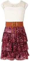 Speechless Belted Sleeveless Lace Shoulder Sleeve Peasant Dress - Big Kid Girls