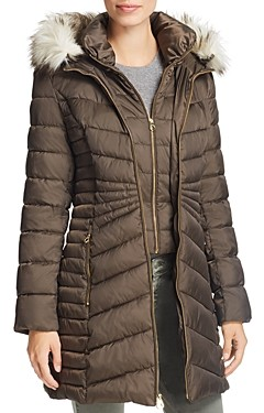 Laundry by Shelli Segal Hooded Faux Fur Trim Puffer Coat