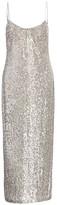Galvan Glitter Built-In Bustier Midi Slip Dress