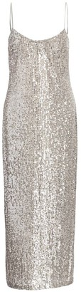 Galvan Glitter Built-In Bustier Midi Slip Dress