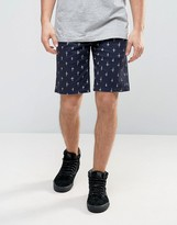 Element Howland Straight Chino Shorts Cross Print In Navy