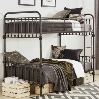 Weston Home Nottingham Twin Over Twin Metal Bunk Bed With Ladder