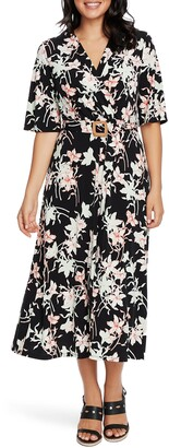 Chaus Floral Wrap Front Belted Midi Dress