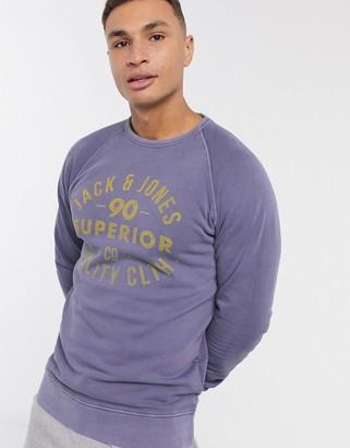 Jack and Jones vintage logo sweatshirt in washed navy