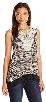 Notations Women's Petite Sleeveless Split Printed Top with Neck Crochet Trim
