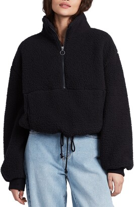 Billabong Time Off Faux Shearling Half Zip Pullover