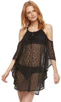Women's Beach Scene Cold-Shoulder Lace Cover-Up