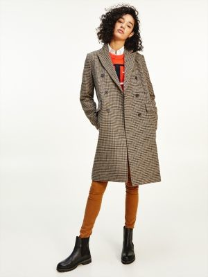 Tommy Hilfiger Checked Double Breasted Coat