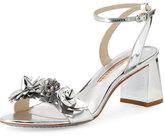 Sophia Webster Lilico Metallic Block-Heel Sandal, Silver