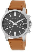 English Laundry Stainless Steel Camel Leather Chronograph Watch