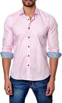 Jared Lang Square Print Long Sleeve Trim Fit Shirt