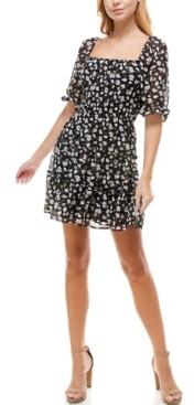 Trixxi Juniors' Emma Floral-Print Square-Neck Dress
