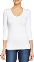 Majestic Filatures Three Quarter Sleeve V-Neck Tee