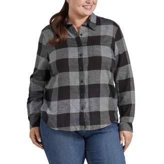Dickies Women's Size Long-Sleeve Plaid Flannel Shirt