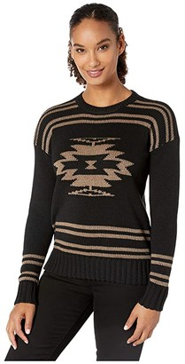Lauren Ralph Lauren Cotton-Blend Graphic Sweater (Polo Black/Gold) Women's Clothing
