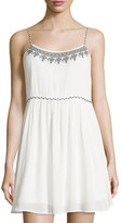 Romeo & Juliet Couture Sleeveless Embroidered-Trim Dress, White