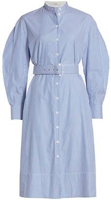 Tibi Striped Shirting Belted Shirtdress