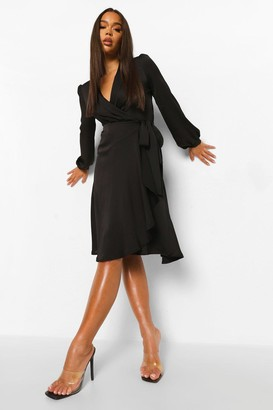 boohoo Wrap Over Ruffle Hem Belted Midi Dress