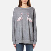 Wildfox Couture Women's Two Flamingos Roadtrip Sweatshirt Heather Grey