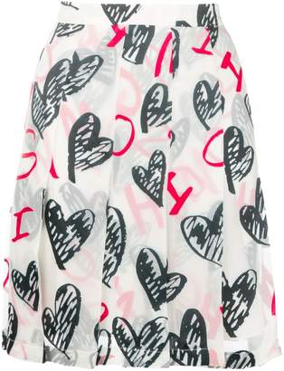 Moschino heart print pleated skirt