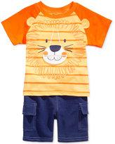 Nannette 2-Pc. Lion Roar T-Shirt & Cargo Shorts Set, Baby Boys (0-24 months)