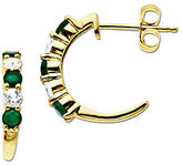 Lord & Taylor White Sapphire and Emerald 14K Gold Hoop Earrings