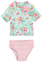 Little Me Aqua Rose Rashguard 2-Piece Set (Baby Girls)
