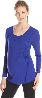 Everly Grey Women's Maternity Bailey Long Sleeve Faux Wrap and Nursing Top