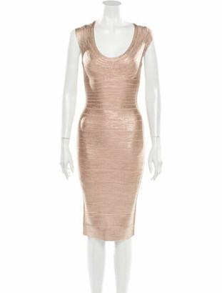 Herve Leger Scoop Neck Knee-Length Dress