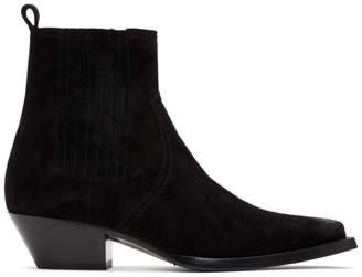 Saint Laurent Black Suede Lukas Chelsea Boots