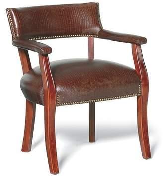 Thayer Fairfield Chair Armchair Fairfield Chair Body Fabric: 8789 Bark, Leg Color: Almond Buff, Nailhead Detail: Aged Bronze