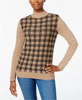 Karen Scott Plaid Mock-Neck Sweater, Only at Macy's