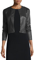The Row Cropped Leather Zip-Front Jacket, Black