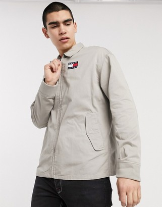 Tommy Jeans flag badge logo casual cotton harrington jacket in stone
