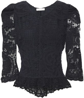 LoveShackFancy Brenna Crocheted Lace Peplum Jacket